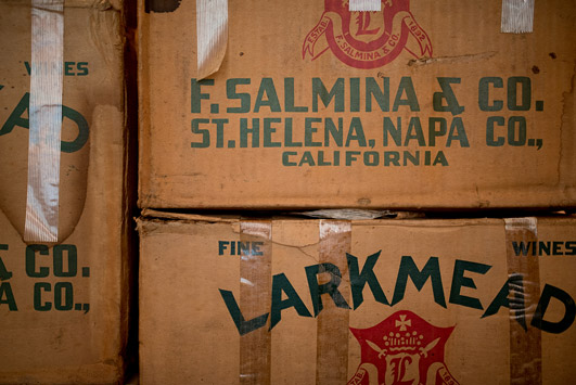 Original Larkmead wine case boxes.