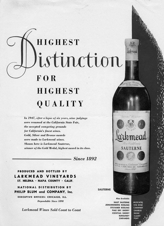 A magazine ad lauding Larkmead's winnings at the California State Fair.